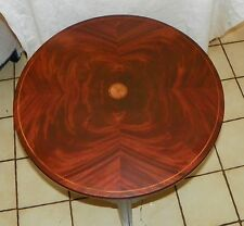 Mahogany Inlaid Round Parlor Table Lamp Table by Baker   (T179)