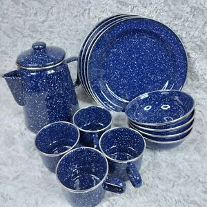 14 Peace Enamelware Set Coffee Pot Plates Bowls Cups Blue Speckles Metal Camping
