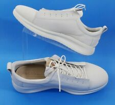 ECCO Danish Design White Leather Lace Up Casual Walking Shoes Mens 9 US