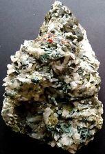 F463 Cubic Andradite Garnet & Green Quartz Cluster & Sharp Flake Calcite  1234g