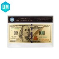 US 100 Dollar 24k Gold Banknote Colorful Note Money Art Ornament with COA Frame