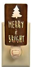 MERRY & BRIGHT Tree Themed Night Light - Christmas Holiday Home Decor Gift Gifts