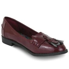 EX STORE GIRLS CHILDRENS BACK TO SCHOOL SHOES  LOAFERS BURGUNDY SIZE 11 - 3