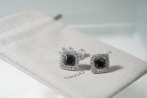 David Yurman 925 Silver 585 Black ONYX Diamond Petite Albion Earrings DY Pouch