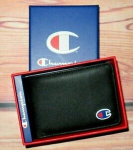 MENS CHAMPION FAUX LEATHER BLACK BIFOLD WALLET WITH ORIGINAL GIFT BOX
