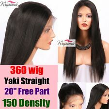 """200% Yaki Straight 360 Lace Wig Pre Plucked Brazilian Remy Human Hair Wigs 10"""""""