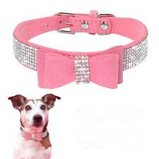 Rhinestone rosa diamante pequeño perro Collar con moño de Gamuza Para Cachorro Gato Mascota Chica