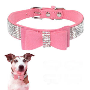 Pink Rhinestone Diamante Small Dog Collar Suede Bowknot for Puppy Cat Girl Pet