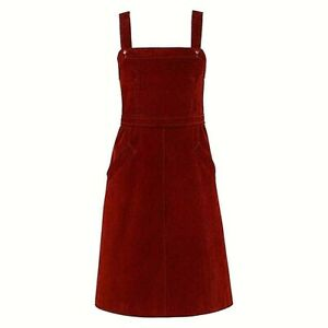 COURREGES c.1970's Hyperbole Blood Red Corduroy Sleeveless A-Line Jumper Dress