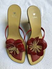 Luichiny Red And Tan Wedges With Leather Flower Sz 7 NWOB