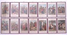 ANTICHI SANTINI HOLY CARDS VIA CRUCIS 14 STAZIONI CROMOLITOGRAFIE IN VETRO 1950