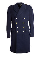 "Great Coat Wool Trench Nordic Vintage Double Breasted Military 38-40"" Navy Blue"