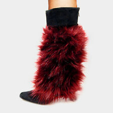 "Fur Leg Warmers Faux Fur Boot Toppers 12"" Tall Fuzzy Soft BURGUNDY Shoe Warmer"