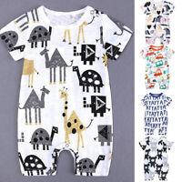 Summer Toddler Kids Baby Boys Short Sleeve Cartoon Print Romper Jumpsuit Clothes