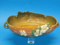 "LARGE VINTAGE ROSEVILLE 391-10 WHITE ROSE BOWL ~ 8""x13"""