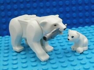 LEGO ARCTIC SET ~ Polar Bear & Cub Silver Fish Authentic Animal Minifigures  NEW