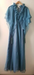 70s Vintage Jean Varon Blue Chiffon Dress Tassel Layered Evening Fancy Ethereal