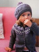 Knitting Pattern Girls Fair Isle Beret and Cardigan Set Ages 1-5 Years  (2)