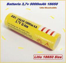 Batteria Pila Ricaricabile Litio 18650 5000mah 3,7v Torcia Bici Softair