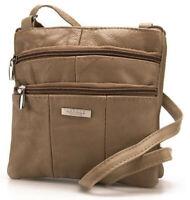 Womens Mid Brown Real Leather Crossbody Bag Shoulder Handbag Soft Lorenz 3766