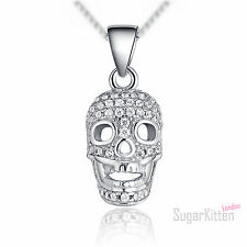 925 Sterling Silver 3D Skull Ghost POWER CZ Cluster Womens Pendant Necklace Gift