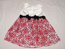 EUC Mud Pie Girls Damask Red & White Taffeta Christmas Holiday Dress Size 2T