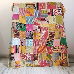 Indian Reversible Kantha Quilt Blanket Rally Throw Reversible Bedding Bedspread