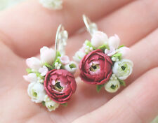 Flower peony EARRINGS HANDCRAFTED Fashion polymer clay wedding bride HANDMADE