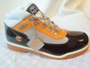Timberland Men's Patent Leather Junior Field Boots Brown/Orange/Beige Size 7 M