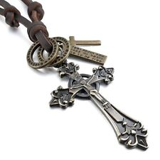 Mendino Men's Alloy Pendant Leather Cord Necklace Vintage Jesus Celtic Cross