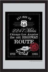 Route 66 Highway 1926 - 1985 Nostalgie Barspiegel Spiegel Bar Mirror 22 x 32 cm