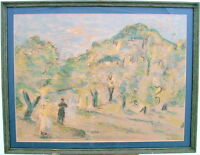 LEO KALIN 1965 ORIENTALIST NORTH AFRICAN ORCHARD LANDSCAPE WATERCOLOR PAINTING