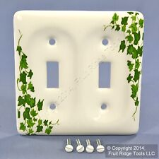 New Leviton Green Vine Pattern Porcelain Switch Cover Toggle Wallplate 89509-GRN