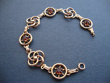 ANTIQUE 10K YELLOW GOLD GARNET BRACELET for SMALL WRIST 6.5 INCHES LONG