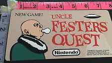 Uncle Festers Quest Nintendo Play Choice 10 Topper Sticker Original