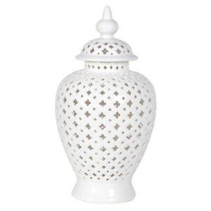 Shabby Chic Luxury Style Cream Pierced Ginger Jar Home Decor