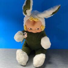 Vintage Rubber Face Plush Green Bunny Rabbit Kuddles Doll Knickerbocker Clean
