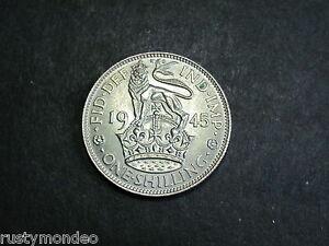(1) King George VI, 1945, .500 Silver ' English ' Shilling. Grade Ex Fine