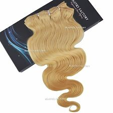 Salon Clip in Body Wave Wavy Curly 100 Remy Human Hair Extension 24 Inch 100g 613 Bleach Blonde (hair803)
