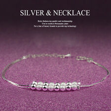 Women Girl 925 Sterling Silver Crystal Chain Bangle Cuff Charm Bracelet Jewelry