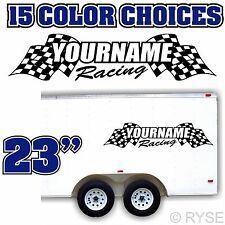Custom Name Trailer Race Flag Decal MX ATV Motocross Go Kart SX Sprint Car Boat