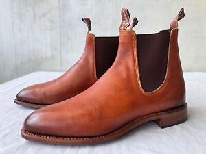 R M Williams Chinchilla Brown Burnished Leather Mens Boots, Sz 10.5G
