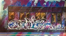 Rare : Toile Originale de Sonic Bad ,  NYC Subway Train Graffiti  , Street Art