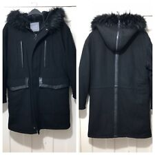 ZARA MAN BLACK HOODED WOOL COAT WITH FAUX FUR INTERIOR SIZE S  RRP£129