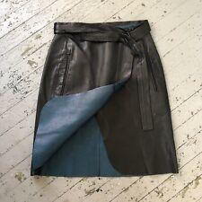 Reed Krakoff Two Tone Leather Wrap Skirt, Black & Turquoise, Medium
