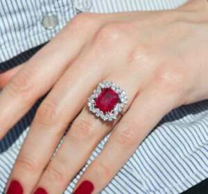 3.50Ct Emerald Cut Red Ruby Halo Women's Engagement Ring 14K White Gold Over