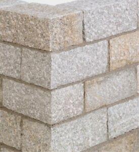 Mauersteine, Granit gelb - Lager + Stirnflächen gesägt - Blöcke, Trocken-Mauer