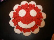 """NEW Handmade Crochet Pot Holder Red White Smilie Face  8"""""""