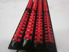 "80pc RED CLIPS 17-1/2"" LONG SOCKET TRAY HOLDER ORGANIZER 1/4"" 3/8"" 1/2"" 4 RAIL"