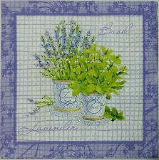 LAVENDER BASIL HERBS 2 single LUNCH SIZE  paper napkins for decoupage 3-ply